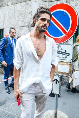 Stock Image of Marlon Teixeira on his way to the Giorgio Armani fashion show