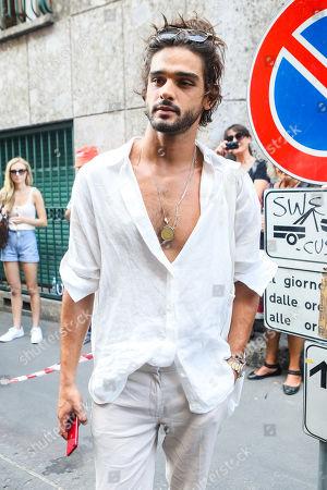 Editorial photo of Marlon Teixeira out and about, Milan Fashion Week Men's, Italy - 17 Jun 2019