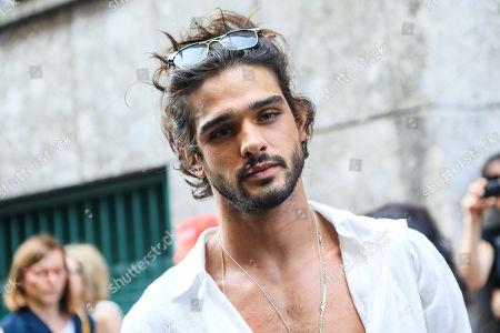 Marlon Teixeira on his way to the Giorgio Armani fashion show