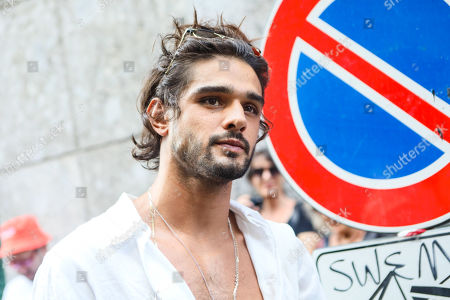 Editorial picture of Marlon Teixeira out and about, Milan Fashion Week Men's, Italy - 17 Jun 2019