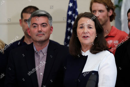 Diana DeGette, Cory Gardner, r m. U.S. Rep. Diana DeGette, D-Colo., right, speaks as U.S. Sen. Cory Gardner, R-Colo., looks on during a news conference to announce a plan to introduce legislation aimed at reforming the U.S. Olympic Committee, in Denver. Nearly a dozen Olympic athletes were on hand to lend their support to the measure, which DeGette plans to introduce this week