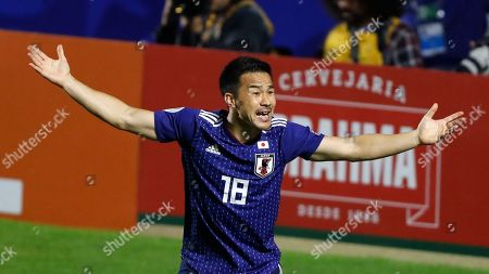 Japan's Shinji Okazaki reacts during a Copa America Group C soccer match against Chile at the Morumbi stadium in Sao Paulo, Brazil