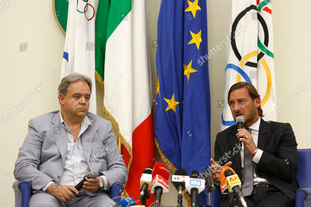 Former AS Roma captain Francesco Totti with Paolo Condo during a press conference at the offices of the Italian Olympic Committee. AS Roma legend Francesco Totti announced that he was resigning from his position as an executive for the Serie A club