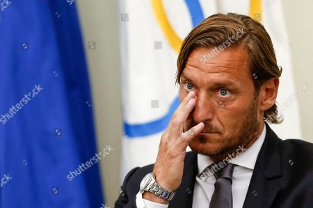 Former AS Roma captain Francesco Totti during a press conference at the offices of the Italian Olympic Committee. AS Roma legend Francesco Totti announced that he was resigning from his position as an executive for the Serie A club