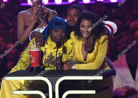 "Spice, Lil Scrappy, Karlie Redd. Spice, from left, Lil Scrappy and Karlie Redd accept the award for reality royalty for ""Love & Hip Hop: Atlanta"" at the MTV Movie and TV Awards, at the Barker Hangar in Santa Monica, Calif"