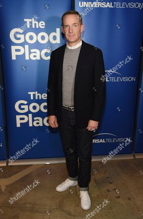 """Marc Evan Jackson, a cast member in the television series """"The Good Place,"""" poses at an Emmy For Your Consideration event for the show at the Upright Citizen Brigade Theatre, in Los Angeles"""