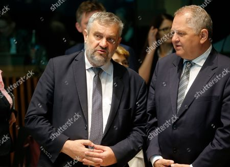 Polish minister for fisheries Jan Krzysztof Ardanowski (L) at the start of the EU Agriculture and Fisheries (AGRIFISH) Council in Luxembourg, 18 June 2019. Ministers will work on the state of play of the Common Fisheries Policy and fishing opportunities for 2020.