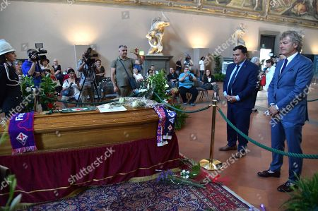 Former football player Giancarlo Antognoni pays tribute to Italian director Franco Zeffirelli as his coffin lies in state at the Palazzo Vecchio in Florence