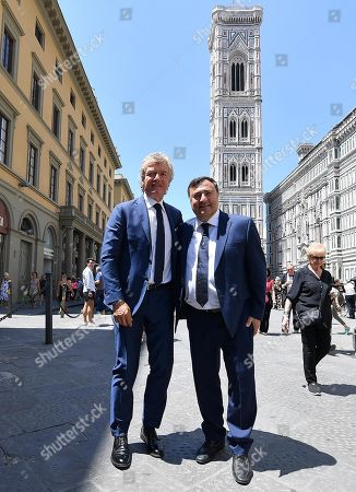 Former Fiorentina soccer player Giancarlo Antognoni and US businessman Joe Barone (R) after the funeral of the late Italian director Franco Zeffirelli at the Florence's Duomo, in Florence, 18 June 2019. Zeffirelli has died in Rome on 15 June. He was 96.