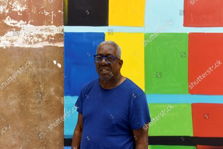 US artist Stanley Whitney poses in front of one of his artworks on display during the opening the exhibition 'Stanley Whitney / Yves Klein: This Array of Colors' at the Cayon Gallery in Mahon, Mallorca island, Spain, 18 June 2019. The event will be open to public until 05 September 2019.
