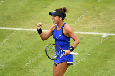 Heather Watson of Great Britain during the 1st round doubles match against Raquel Atawo of the USA and Lyudmyla Kichenok of the Ukraine.