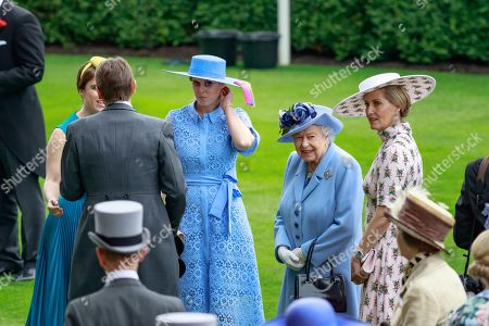 Princess Beatrice, Queen Elizabeth II and Sophie Countess of Wessex at Royal Ascot