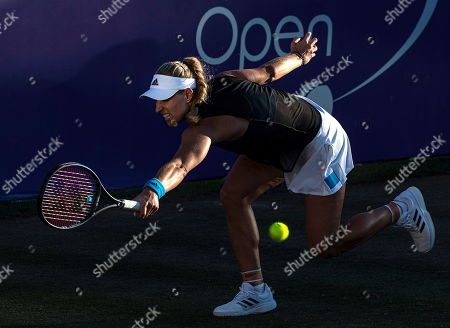 Stock Picture of Angelique Kerber of Germany in action against Ysaline Bonaventure of Belgium during their WTA Mallorca Open round 32 match at Santa Ponsa's Club in Mallorca, Balearic Islands, Spain, 18 June 2019.