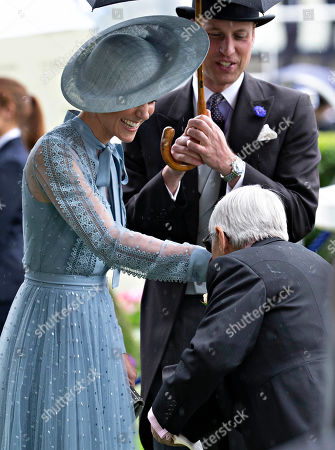 Prince William and Catherine Duchess of Cambridge greet Willie Carson