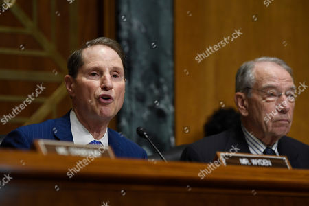 Ron Wyden, Chuck Grassley. Senate Finance Committee ranking member Sen. Ron Wyden, D-Ore., left, sitting next to committee chairman Sen. Chuck Grassley, R-Iowa, right, speaks during a hearing with United States Trade Representative Robert Lighthizer on Capitol Hill in Washington, on 'The President's 2019 Trade Policy Agenda and the United States-Mexico-Canada Agreement