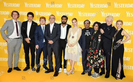 Daniel Pemberton, Joel Fry, Ed Sheeran, Danny Boyle, Himesh Patel, Lily James, Sanjeev Bhaskar, Meera Syal, Richard Curtis and Kate McKinnon