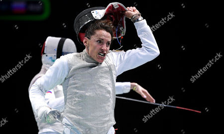 Elisa Di Francisca of Italy celebrates after winning against Inna Deriglazova of Russia during the foil women's individual final of the 2019 Fencing European Championships in Duesseldorf, Germany, 18 June 2019.