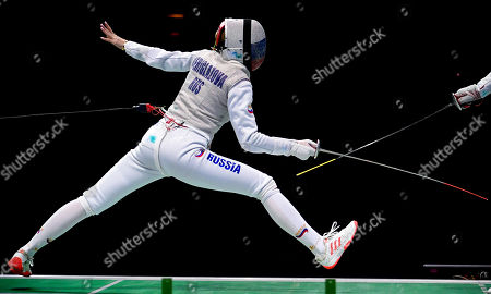 Inna Deriglazova of Russia in action against Alice Volpi of Italy during the foil women's individual semi final of the 2019 Fencing European Championships in Duesseldorf, Germany, 18 June 2019.