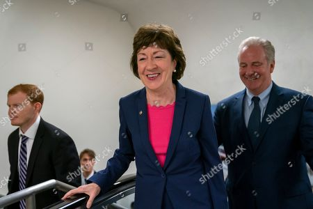 Susan Collins, Tim Kaine. Sen. Susan Collins, R-Maine, joined by Sen. Tim Kaine, D-Va., right, arrives at the Capitol to extend her perfect Senate voting record to 7,000, as she prepares for a 2020 campaign, in Washington