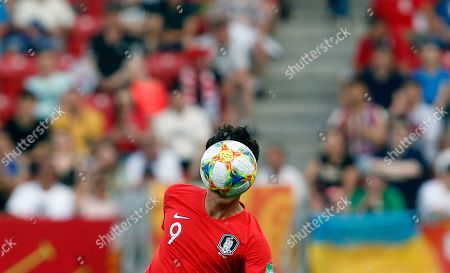South Korea's Oh Se-hun heads the ball during the final match between Ukraine and South Korea at the U20 soccer World Cup in Lodz, Poland