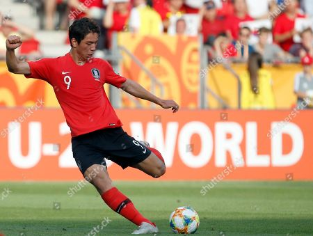 South Korea's Oh Se-hun kicks the ball during the final match between Ukraine and South Korea at the U20 soccer World Cup in Lodz, Poland