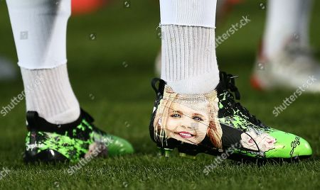 Stock Image of James Maddison special boots in honour of 'best friend' Sophie Taylor who died in January after battle with bone cancer