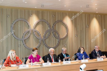 (L-R) Members Kirtsy Coventry, Nicole Hoevertsz, Robin Mitchell, Zaiqing Yu, Anita DeFrantz and Ugur Erdener attend a meeting during a visit of the new headquarters of the International Olympic Committee (IOC) in Lausanne, Switzerland, 18 June 2019. The inauguration of the Olympic House will take place on 23 June during the celebration of Olympic Day.