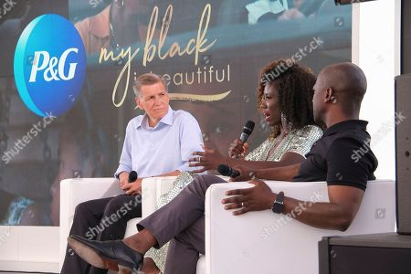 """P&G's Marc Pritchard alongside Creative Director Keith Cartwright and Chief Marketing Officer at William Morris Endeavor Bozoma """"Boz"""" St John at the Cannes Lions Festival for the premier of """"The Look"""", a provocative story about racial bias on in Cannes, France"""