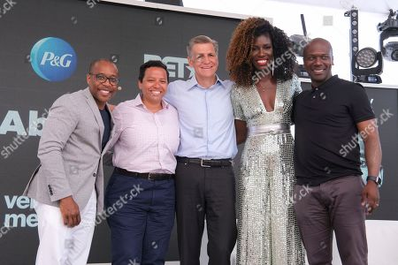 """P&G's Chief Brand Officer Marc Pritchard and Vice President of Global Communications, Damon Jones, alongside Huff Post's Lydia Polgreen, Creative Director Keith Cartwright and Chief Marketing Officer at William Morris Endeavor Bozoma """"Boz"""" St John for the premier of """"The Look"""", a provocative story about racial bias, created to inspire important conversations & actions about race, inclusion and empathy on in Cannes, France"""