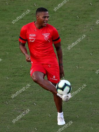 Antonio Valencia plays the ball during a training session of Ecuador's national soccer team at the Manuel Barrada stadium in Salvador, Brazil, . Ecuador will play Chile in a Copa America Group C match on June 20