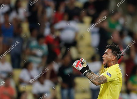 Peru's goalkeeper Pedro Gallese celebrates after his teammate Jefferson Farfan scored his side's second goal against Bolivia during a Copa America Group B soccer match at Maracana stadium in Rio de Janeiro, Brazil