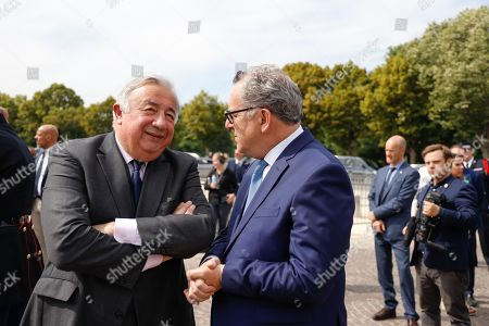 Gerard Larcher and Richard Ferrand attends a WWII ceremony to mark the 79th anniversary of late French Gen. Charles de Gaulle's resistance call from London of June 18, 1940, at the Mont Valerien