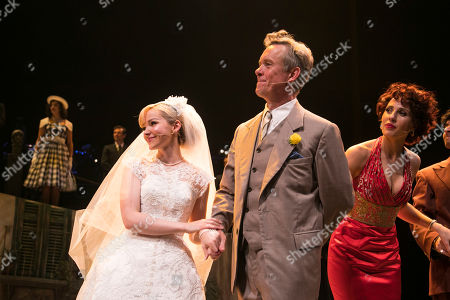 Stock Picture of Dove Cameron (Clara Johnson), Alex Jennings (Signor Naccarelli) and Celinde Schoenmaker (Franca Naccarelli) during the curtain call