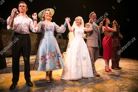 Rob Houchen (Fabrizio Naccarelli), Renee Fleming (Margaret Johnson), Dove Cameron (Clara Johnson), Alex Jennings (Signor Naccarelli) and Celinde Schoenmaker (Franca Naccarelli) during the curtain call