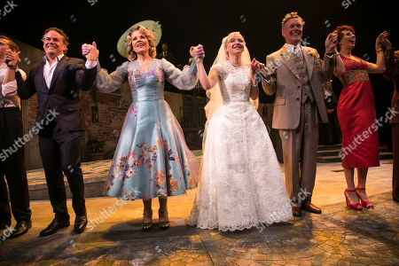 Adam Guettel  (Music/Lyrics), Renee Fleming (Margaret Johnson), Dove Cameron (Clara Johnson), Alex Jennings (Signor Naccarelli) and Celinde Schoenmaker (Franca Naccarelli) during the curtain call