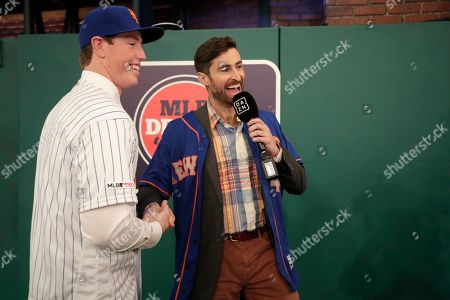 Stock Image of Brett Baty, a third baseman from Lake Travis High School in Austin, Tx., is interviewed by Scott Rogowsky after being selected No. 12 by the New York Mets in the first round of the Major League Baseball draft, in Secaucus, N.J