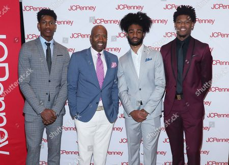NBA legend Kenny Smith (second left) and NBA draft prospects De'Andre Hunter, Coby White and Cam Reddish team up with JCPenney to host an evening of mentorship for young men from the Boys & Girls Club at the Moxy NYC Downtown, in New York