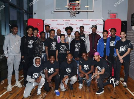 Stock Image of NBA legend Kenny Smith (second left) and NBA draft prospects De'Andre Hunter, Coby White and Cam Reddish team up with JCPenney to host an evening of mentorship for young men from the Boys & Girls Club at the Moxy NYC Downtown, in New York