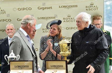 (R) Sir Evelyn de Rothschild and Lynn Forester de Rothschild with Prince Charles after their horse Crystal Ocean had won The Prince of Wales's Stakes.