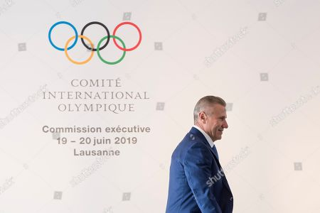 Ukrainian Sergei Bubka, and IOC member, reacts prior to the opening of the International Olympic Committee (IOC) executive board meeting in Lausanne, Switzerland, 19 June 2019.