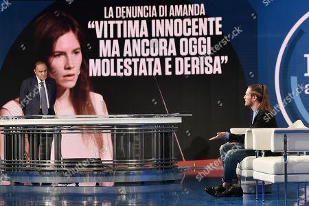 Journalist Bruno Vespa, Raffaele Sollecito, on background a picture of Amanda Knox