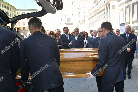 Sons of Franco Zeffirelli, Luciano and Pippo during the arrival of the coffin