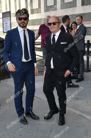 Stylist Ermanno Scervino (R) during the funeral of Franco Zeffirelli