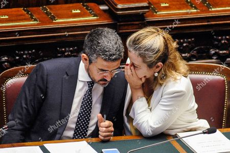 Stock Photo of Minister of Parliament Relationship Riccardo Fraccaro, Minister of Health Giulia Grillo
