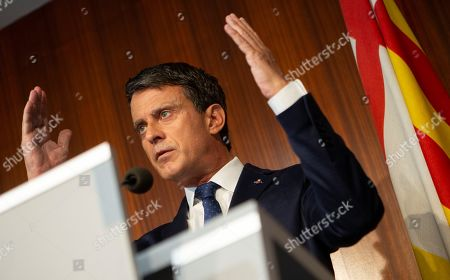 Former French prime minister and Councillor of Barcelona city, Manuel Valls (R), speaks during a press conference in Barcelona, Spain, 19 June 2019. Valls criticized his until two days ago partner Ciudadanos party (Citizens) for an irresponsible strategy after they made pacts in Andalusia and Madrid with far right party Vox, which was defined by Valls as an anti-liberal and anti-european formation. Valls has reaffirmed his compromise with the city of Barcelona and with the building of a constitutional strategy for the city. Ciudadanos withdrew their support to Barcelona's independent local party chaired by Valls after his decision of supporting the reelection of Ada Colau as Mayoress of Barcelona to avoid pro-independent candidate Ernest Maragall becoming the Mayor.