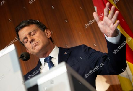 Former French prime minister and Councillor of Barcelona city, Manuel Valls (R), reacts during a press conference in Barcelona, Spain, 19 June 2019. Valls criticized his until two days ago partner Ciudadanos party (Citizens) for an irresponsible strategy after they made pacts in Andalusia and Madrid with far right party Vox, which was defined by Valls as an anti-liberal and anti-european formation. Valls has reaffirmed his compromise with the city of Barcelona and with the building of a constitutional strategy for the city. Ciudadanos withdrew their support to Barcelona's independent local party chaired by Valls after his decision of supporting the reelection of Ada Colau as Mayoress of Barcelona to avoid pro-independent candidate Ernest Maragall becoming the Mayor.