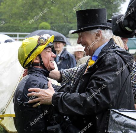 Frankie Dettori is congratulated by Sir Evelyn De Rothschild after Crystal Ocean had won the Prince Of Wales's Stakes at Royal Ascot.
