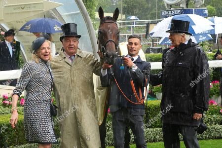 Stock Picture of CRYSTAL OCEAN with Sir Michael Stoute & Sir Evelyn De Rothschild after winning The Prince Of Wales's Stakes (Group 1) at Royal Ascot