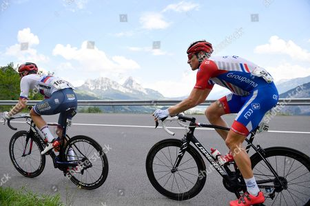 Stefan Kueng from Switzerland of Groupama-FDJ (R) in action during the fifth stage of the 83rd Tour de Suisse UCI ProTour cycling race, over 177 km from Muenchenstein to Einsiedeln, Switzerland, 19 June 2019.