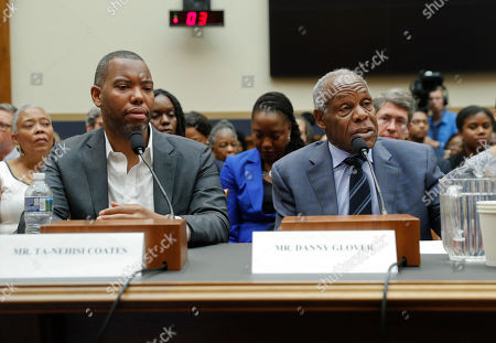 Danny Glover, Ta-Nehisi. Actor Danny Glover, right, and author Ta-Nehisi Coates, left, testify about reparation for the descendants of slaves during a hearing before the House Judiciary Subcommittee on the Constitution, Civil Rights and Civil Liberties, at the Capitol in Washington
